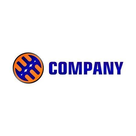 Letter EB Alphabetic Logo Design Template, Blue, Orange Ellipse, Rounded Logo Concept, White Background, Strong And Bold, Lettermark