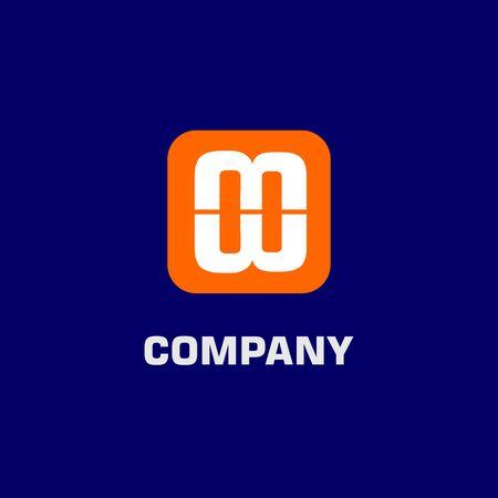 Letter MW Alpabethic Logo Design Template, Rounded Logo Concept, Orange, White, Blue Background