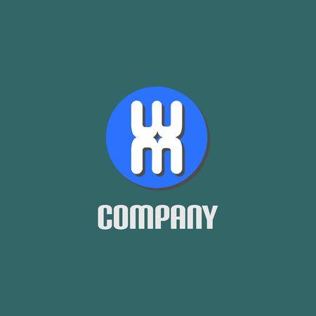 Letter WM Alphabetic Logo Design Template, Ellipse Rounded Logo Concept Concept, White, Blue