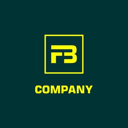 Letter FB or F3 Alphabetic Logo Design Template, Yellow, Rectangle, Square Logo Concept, Dark Green Background