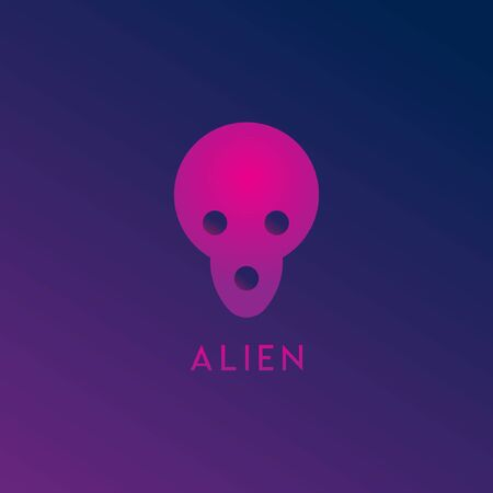 Alien Space Logo Design Template, Pink, Purple, Violet, Dark, Gloomy