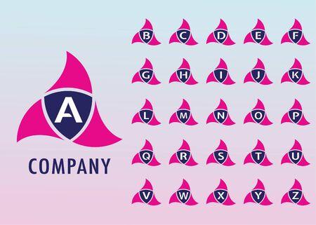 Alphabetic Logo Design Template, Ninja Security Logo Concept, Company, Pinky, Blue, White, Initial Logo, Digital, Modern, Flat Ilustração