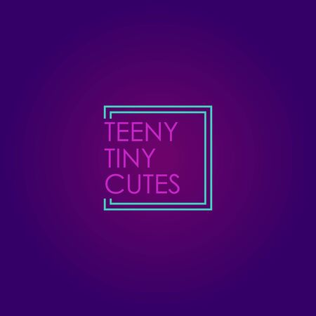 Teeny Tiny Cutes Design Template, Neon Logo Concept, Light Blue, Pinky, Purple, Violet, Square, Rectangle