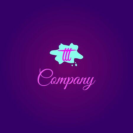 Letter TTT Alphabetic Logo Design Template, Girly Logo Concept, Kids, Children, Pink, Green, Light Blue, Purple, Violet  イラスト・ベクター素材