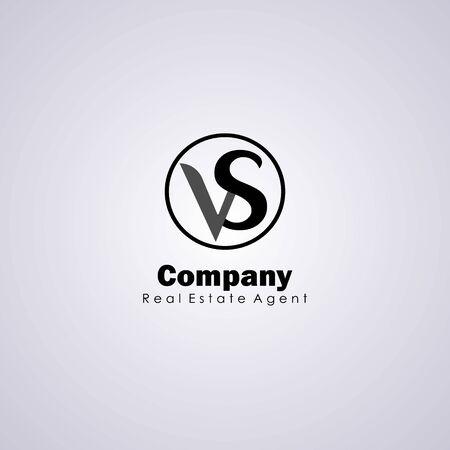 Letter VS Alphabetic Logo Design Template, Ellipse Logo Concept, Simple & Clean, Black Lettermark Initial