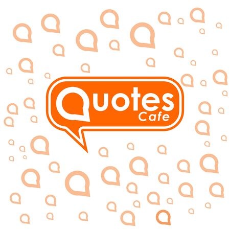 Quotes Cafe Logo Design Template, Call Out Logo Concept, Orange, White, Call Out Decoration