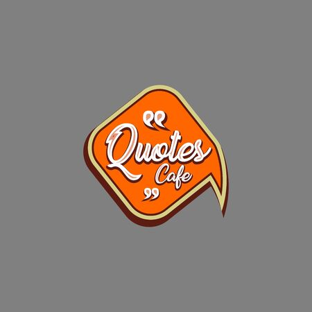 Quotes Cafe Logo Design Template, Call Out Logo Concept, Orange, Beige, Brown, White , Gray Background