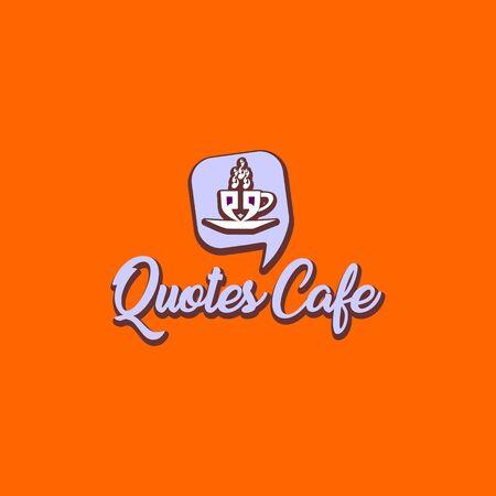 Quotes Cafe Logo Design Template, Call Out Logo Concept, Gray, Orange, Cup Icon
