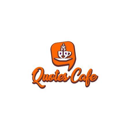 Quotes Cafe Logo Design Template, Call Out Logo Concept, White, Gray, Orange, Cup Icon