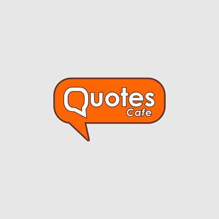 Quotes Cafe Logo Design Template, Call Out Logo Concept, White, Gray, Orange