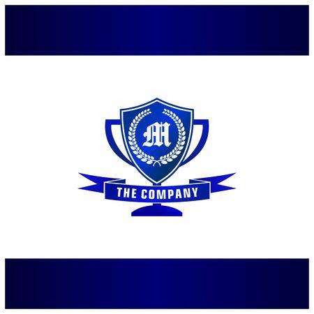 Letter M Trophy, Emblem, Shield Logo Concept