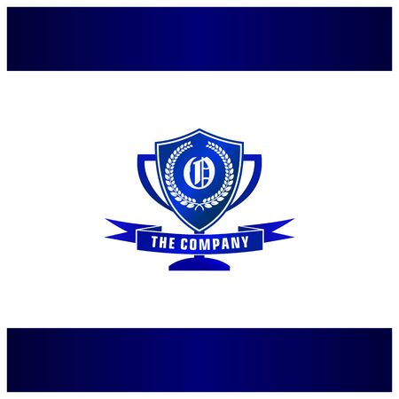 Letter O Trophy, Emblem, Shield Logo Concept Stock Illustratie