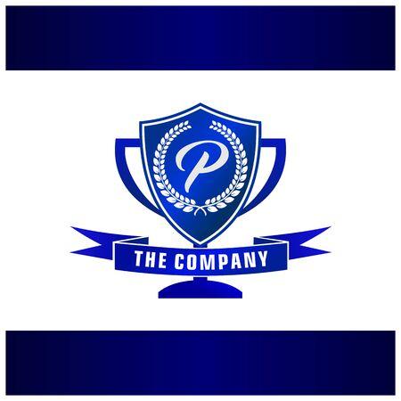 Letter P Trophy, Emblem, Shield Logo Concept