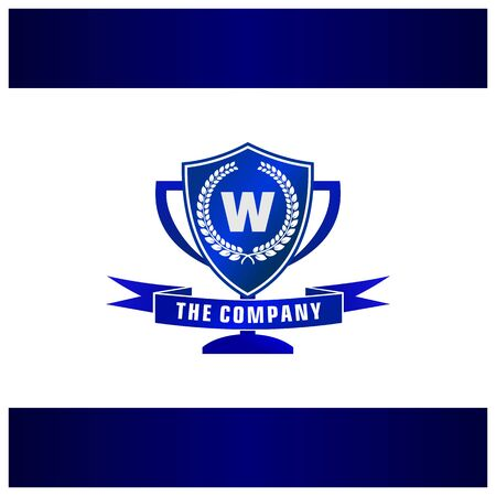 Letter W Trophy, Emblem, Shield Logo Concept Stock Illustratie
