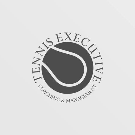 Tennis Executive Logo Design Template, Simple, Clean, Upmarket, Tennis Ball Isolated Shape Logo Concept  イラスト・ベクター素材