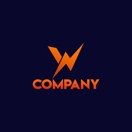 Letter W Alphabetic Logo Concept with Big Watt Icon , High Voltage, Lightning Bolt, Electrical Power Logo Design Template Logo