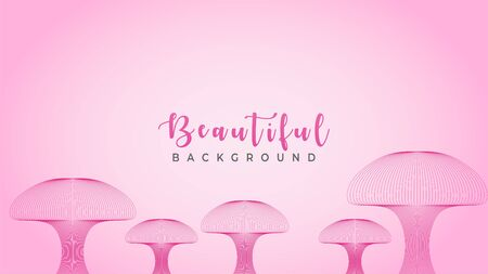 Beautiful Pinky Fungus, Abstract Wave Line Background Design Vector, Mushroom Fantasy Land