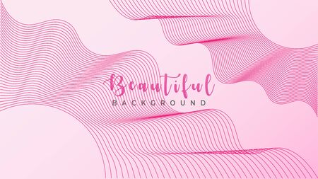 Beautiful Pinky Background, Abstract Wave Line Design Vector, Wonderful Fantasy Land