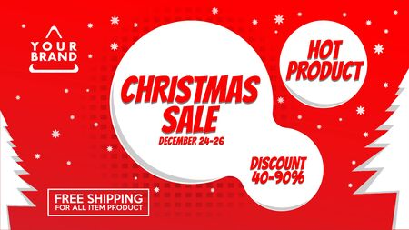 Christmas Sale Banner Design Template, Holiday Flash Sale Promotion Design Concept, Mega Sale Advertising, Big Deal Ads, Red Banner Promotion