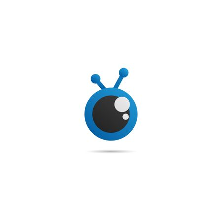 Cute Eye Cartoon Logo Design Template, Company Logo Concept, Vector Icon, Blue, Black, Ellipse