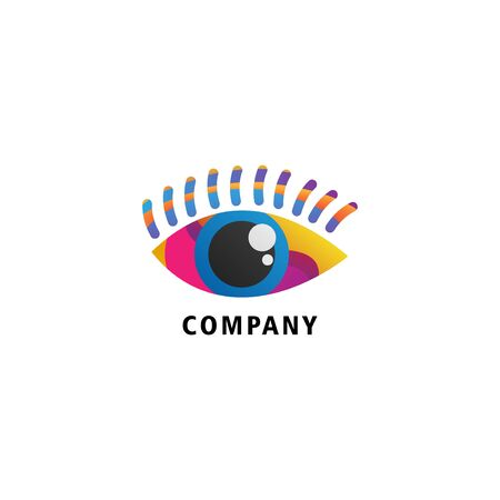 Colorful Eye Logo Design Template, Company Logo Concept, Vector Icon, Blue, Pink, Yellow, Violet, Puple