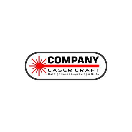 Laser Craft Logo Design Template, Red Light Logo Concept, Oval Rounded Shape Element