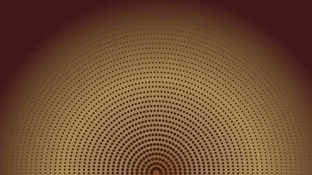 Brown Radial Halftone Background Design Template, Pop Art, Abstract Dots Pattern Illustration