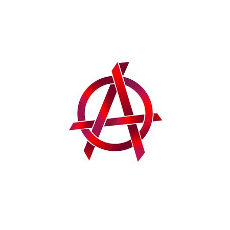 Metalic Red Anarchy Symbol, Sharp Shape Element, EPS 10 Vector Illustration