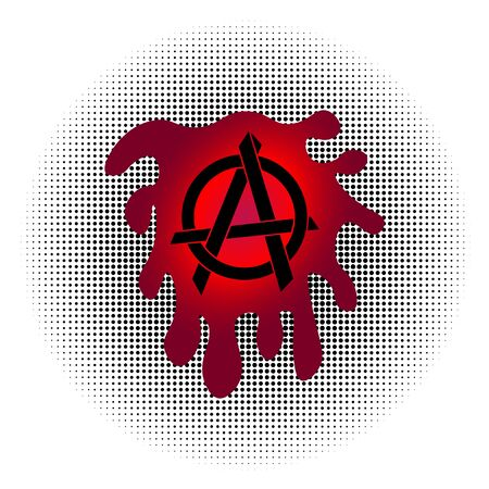 Black Anarchy Sign with Dripping Blood Splashes in Radial Halftone Background, Trail Blood Paint Splatters, Drop Liquid, EPS 10 Vector File 向量圖像