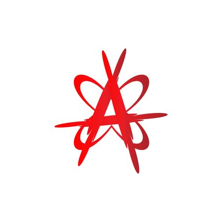 Anarchy Sign illustration with Butterfly Shape, Letter A Alphabetic Logo Design Template, Blood Color, EPS 10 vector file 向量圖像