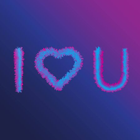 I Love You in Acronym with Heart Symbol in Furry Effect. Colorful Heart Symbol, Light Pink, Light Purple Vector