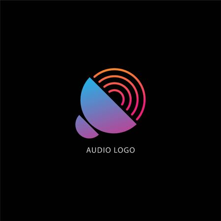 Speaker Sound Logo Concept, Audio Signal Design Vector, Colorful Logo Template