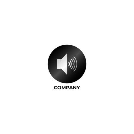 Speaker Sound Logo Concept, Audio Signal Design Vector, Black and White Logo Template