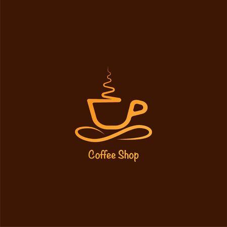 Modèle de conception de logo de café, concept de logo minimal, illustration de logo simple, icône de vecteur de coupe Logo