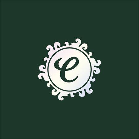 Letter C Decorative Alphabet Logo isolated on Dark Green Background, Elegant Curl & Floral Logo Concept, Light Gray Initial Abjad Logo Design Template.