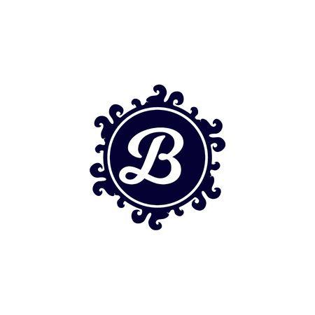 Letter B Alphabet Decorative Logo isolated on White Background, Elegant Curl & Floral Logo Concept, Blue Initial Abjad Logo Design Template. 일러스트