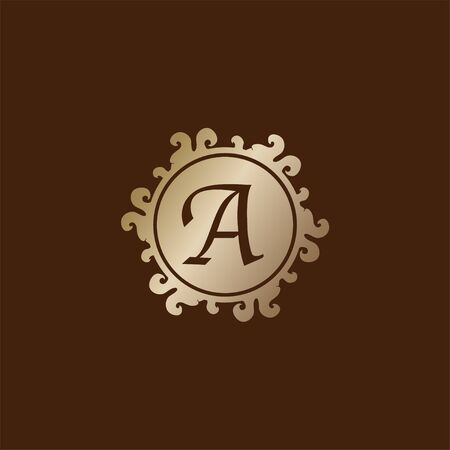 Letter A Alphabet Decorative Logo isolated on Brown Background, Elegant Curl & Floral Logo Concept, Gold Initial Abjad Logo Design Template. 일러스트