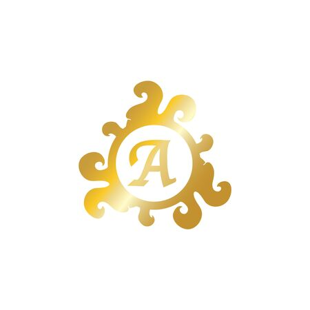 Letter A Decorative Alphabet Logo isolated on White Background, Elegant Curl & Floral Logo Concept, Luxury Gold Initial Abjad Logo Design Template.