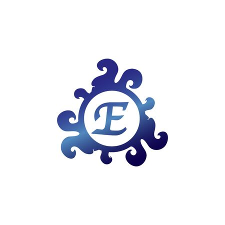 Letter E Decorative Alphabet Logo isolated on White Background, Elegant Curl & Floral Logo Concept, Luxury Sapphire Initial Abjad Logo Design Template. Blue Color