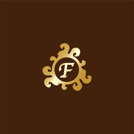 Letter F Decorative Alphabet Logo isolated on Brown Background, Elegant Curl & Floral Logo Concept, Luxury Gold Initial Abjad Logo Design Template. Blue Color