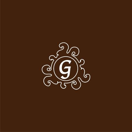 Letter G Decorative Alphabet Logo isolated on Brown Background. Elegant Curl & Floral Logo Concept. Luxury White Initial Abjad Logo Design Template. Line Art Logo Style.
