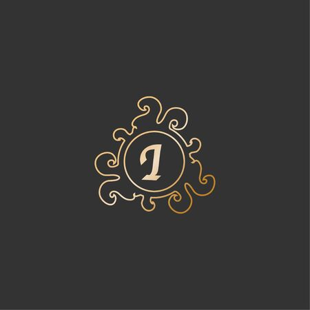 Letter I Decorative Alphabet Logo isolated on Dark Gray Background. Elegant Curl & Floral Line Art Logo Concept. Luxury Gold Initial Abjad Logo Design Template.