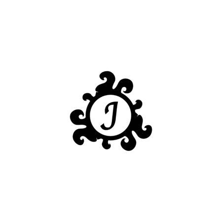 Letter J Decorative Alphabet Logo isolated on white Background. Elegant Curl & Floral Logo Concept. Luxury black Initial Abjad Logo Design Template. 일러스트