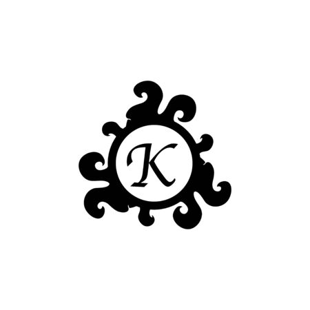 Letter K Decorative Alphabet Logo isolated on white Background. Elegant Curl & Floral Logo Concept. Luxury black Initial Abjad Logo Design Template. 일러스트