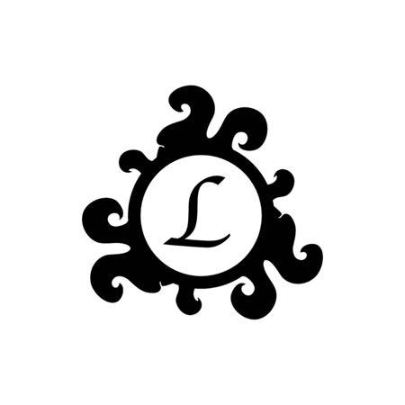 Letter L Decorative Alphabet Logo isolated on white Background. Elegant Curl & Floral Logo Concept. Luxury black Initial Abjad Logo Design Template.