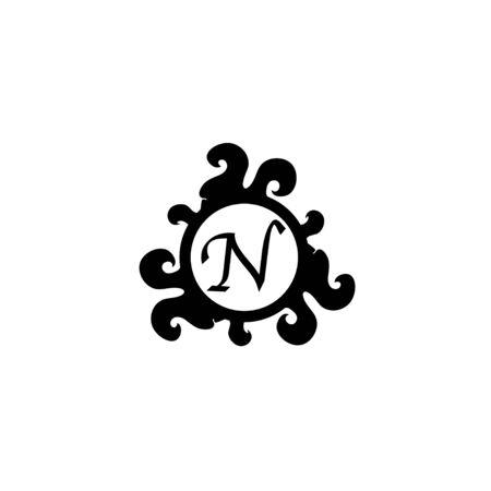 Letter N Decorative Alphabet Logo isolated on white Background. Elegant Curl & Floral Logo Concept. Luxury black Initial Abjad Logo Design Template.