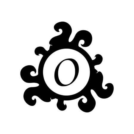 Letter O Decorative Alphabet Logo isolated on white Background. Elegant Curl & Floral Logo Concept. Luxury black Initial Abjad Logo Design Template. 일러스트