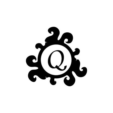 Letter Q Decorative Alphabet Logo isolated on white Background. Elegant Curl & Floral Logo Concept. Luxury black Initial Abjad Logo Design Template.