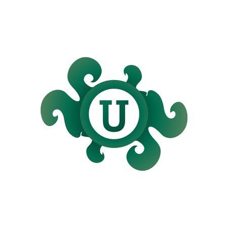 Letter U Decorative Brooch Alphabet Logo isolated on white Background. Elegant Curl & Floral Logo Concept. Luxury Foliage Initial Abjad Logo Design Template. Dark Green Gradation. EPS 10 File Project