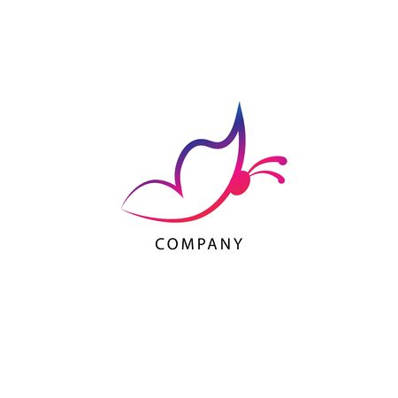 Colorful abstract outlined flying butterfly logo design template isolated on white background. Purple Magenta Gradation Color. Suitable for beauty and fashion product. Pictorial Logotype.